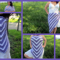 Crochet Shawl, Triangle Scarf, Women's Wrap, Purple and White Shawl, Boho Scarf, Sarong, Bikini Cover