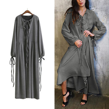 [TWOTWINSTYLE] 2017 Spring Loose Sashes Lace Up Pullovers Knitted Plus Size Puff Sleeve Long Maxi Dress Women New Clothing