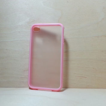 iPhone 4 / 4S Case Silicone Bumper and Translucent Frosted Hard Plastic Back - Light Pink