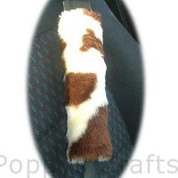 Brown and cream cow print fuzzy car seatbelt pads 1 pair