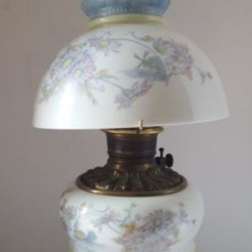 Antique Hand Painted Glass Half Shade Oil Parlor Lamp With Consolidated Font