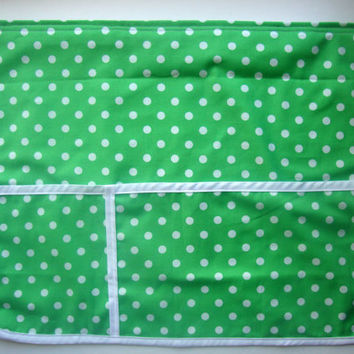 Bed Pocket Caddy Organizer - Green with White Polka Dots Book and Phone Storage