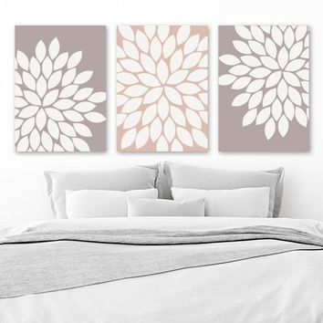 Flower Wall Art, Beige Earth Tones Bedroom Wall Decor, CANVAS or Print, Floral Bathroom Decor, Flower Burst Petals, Set of 3, Floral Artwork