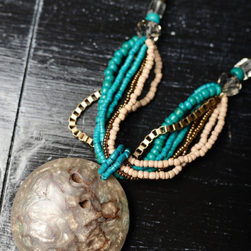 Turquoise & Natural Beaded Pendant Necklace Set