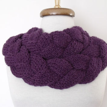 Purple Braid Scarf Neckwarmer With Button-Ready for shipping