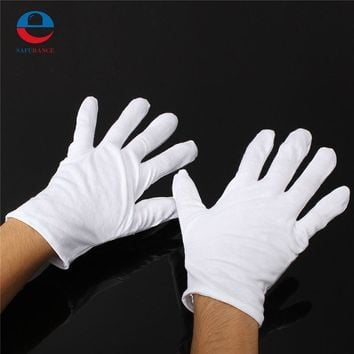1 Pair New Arrival High Quality Useful White Cotton Gloves For Housework Workers With Knits For Safely Security Working Labor