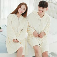 Winter Coral Fleece Couple Pyjama Womens Mens Hooded Bathrobe Zipper Warm Bath Robe Men Nightgown Dressing Gown Home Clothes