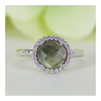 Halo Natural Labradorite and Cubic Zirconia Ring in Sterling Silver