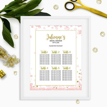 Pink and Gold Bridal Shower Seating Chart-Personalized Floral Bridal Shower Table Seating Sign-DIY Printable Table Plan For Bridal Shower