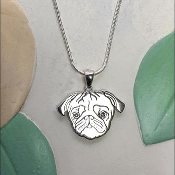 Pug with Heart Cutout Sterling Silver Charm Necklace