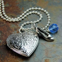 Disney inspired Cinderella Locket Silver Necklace for girls or women