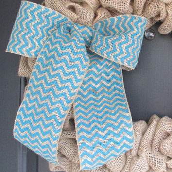 Turquoise/Natural Chevron Burlap Bow, Chevron Wreath Bow, Spring, Easter, Floral Bow, Wedding, Nursery, Year Round, Multipurpose