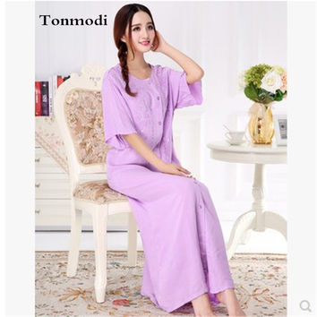 2016 New Long Nightgowns For Women Summer Half sleeve Cotton Long Nightdress Loose Noble Cardigan Stitch Night Dresses