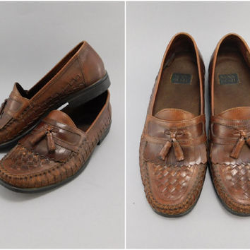 1980's Vintage, Nunn Bush Woven Kiltie Tassel Loafers, Brown Leather, Size 9, Preppy Look, Casual Slip On Loafers