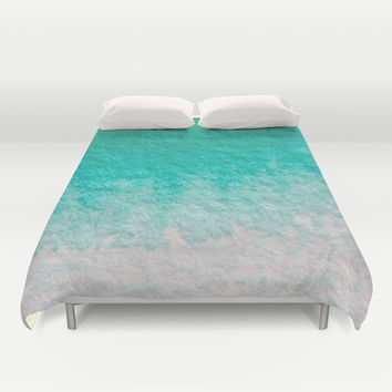 Pretty ombre turquoise aqua blue green pastel ikat watercolor hipster soft art print. Duvet Cover by iGalaxy