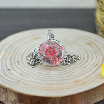 Real Dried Flower Glass ball pendant Necklace glass dome Glass Ball pendant necklace Gift Chinese Wildflower Necklace miniature terrarium