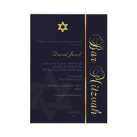 PixDezines Bar Mitzvah/diy color..Navy Blue/gold Personalized Invites from Zazzle.com