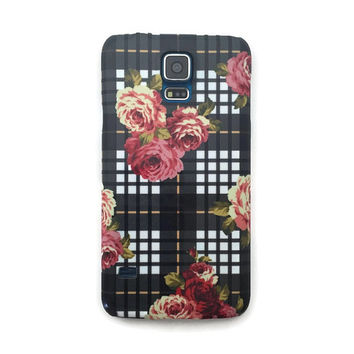 Floral plaid rose iphone 6 case / iphone 6 plus case / Samsung galaxy S6 case / Samsung galaxy S5 case // iphone 4 5 5S 5C, S4 note 3 note 4
