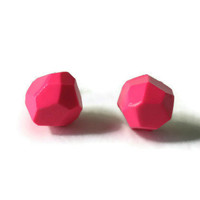 Geometric polymer clay earrings bright pink multi faceted