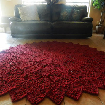 Crochet Doily Rug, Dark Red- Rustic Chic- French Country- Round Rug, Extra Large area rug- Cottage Chic- Oversized- nursery rug, Geometric