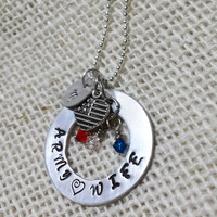 Army Wife Necklace, Personalized Hand Stamped Military Necklace, Army, Navy, Marines, Air Force