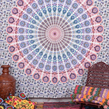 Mandala Wall Hanging, Large Wall Tapestry, Queen Bedding, Hippie Tapestries, Boho Beach Blanket, Cotton Throw, Indian Wall Decor