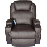 Therapeutic Heated Massage Reclining Chair Brown Comfort Work Home Office New