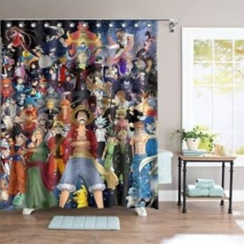 Collection of Anime All Character Custom Shower Curtain 60x72 Inch