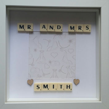 Wedding gift personalised  and first wedding anniversary gift Mr and Mrs wedding gift keepsake scrabble custom handmade unique gift