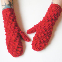 Red Bobble Mittens, MADE TO ORDER.
