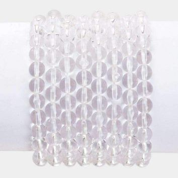 8Pcs - Clear Lucite Stack Stretch Bracelets