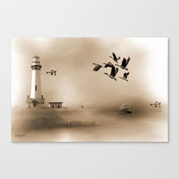 Lighthouse Bay Canvas Print by Theresa Campbell D'August Art