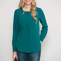 The Teal Deal Button Blouse