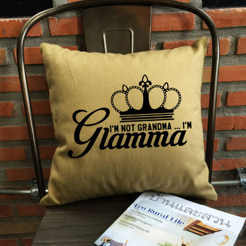 Glamma Pillow cover, Glam-ma,Glamorous grandma throw pillow cover, Grandma pillow cover cotton canvas pillow cover