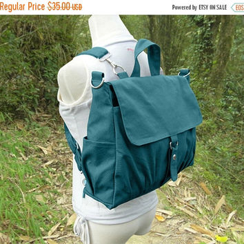 March Sale 10% off Teal green canvas backpack for men and women, multipurpose bag, canvas rucksack, travel bag, school bag, diaper bag