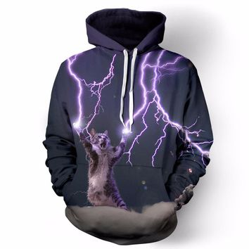 2017 New Hot Sale women/men's hoodies lightning cat funny printed sweatshirt plus size couples 3d hoodies with cap