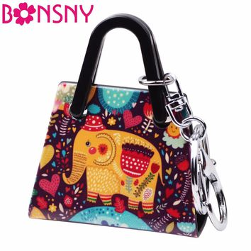 Bonsny Acrylic Elephant Pattern Handbag Shape Key Chain