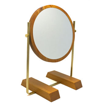 Brass and Wood Vanity Mirror