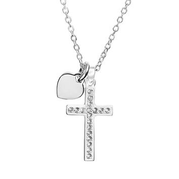 Silver Expressions by LArocks Crystal Silver-Plated ''Faith is the Key to Heaven'' Cross Pendant Necklace (White)