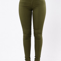 Rock Me Roll Me Jeans - Olive
