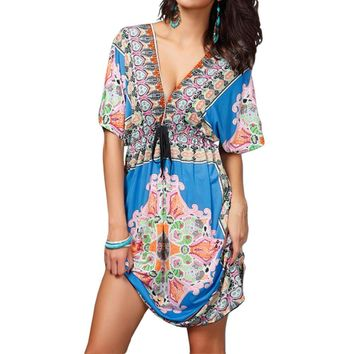 Retro Women Bohemian Dress Paisley Print V-Neck Short Sleeve Beach Wear Dress