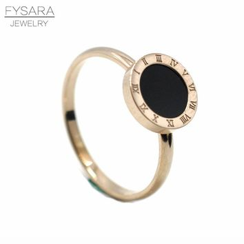 FYSARA Round Black Ring For Couple Jewelry Roman Numerals Ring Titanium Steel Rose Gold Color Ring Love Finger Ring