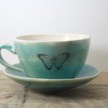 20% OFF-Porcelain Teal Blue Morpho Butterfly Tea Cup & Saucer