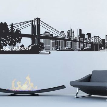 New York Bridge Cityscape Mirror/Wall Decal