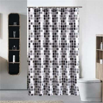 Mosaic Style Bathroom Shower Curtain Thick Waterproof Polyester Mildew Proof Bath Tub Curtain with 12 pcs Hooks