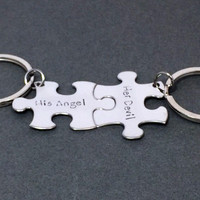 His Angel her Devil Keychains, Couples Keychains, Puzzle Piece Keychain Set
