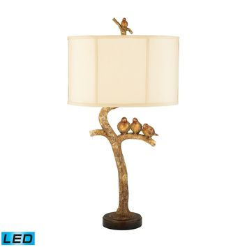 Three Bird 1 Light LED Table Lamp in Gold Leaf And Black