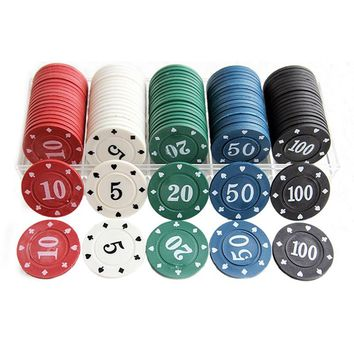 NEW 100 PCS/SET  Poker Chips 4g/pcs Environmental ABS  Colorful Casino Chips Texas Cheap Poker Chips With Free Shipping