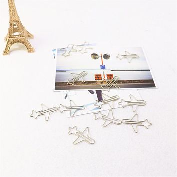 12pcs Metal Material plain Shape Paper Clips Silver Color Funny Kawaii Bookmark Office School Stationery Marking Clips H0070