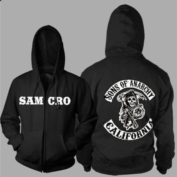 Xmas Gift Sons of Anarchy Thickening cotton-padded jacket SOA winter warm Hoodie Flannel Coats Soft Comfort Cashmere Sweatshirts [8045197511]